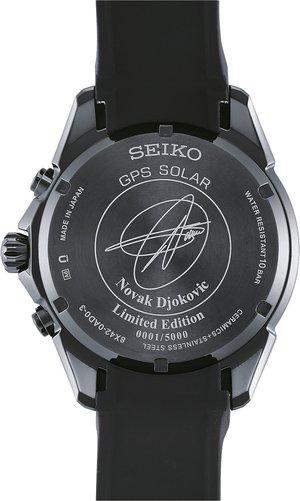 SSE143J1 Seiko Astron GPS Solar Großdatum Novak Djokovic Limited Edition mit eingravierter Unterschrift von Novak und individueller Seriennummer - NEU ab September im Fachhandel!